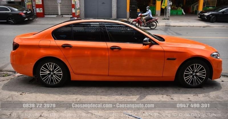 BMW 520I WRAP ĐỔI MÀU CAM BÓNG ĐẸP LUNG LINH TẠI CAO SANG
