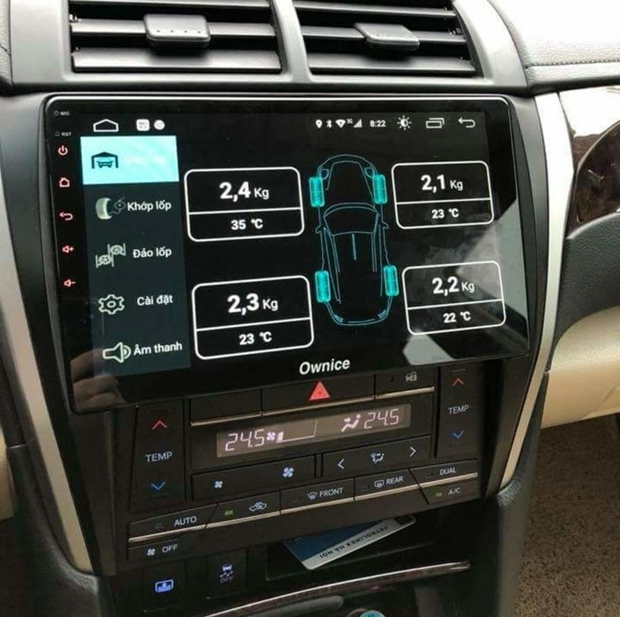 Hình ảnh lắp đặt cảm biến áp suất lốp TN602 trên xe