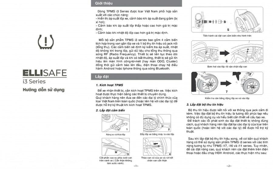 Hướng dẫn sử dụng cảm biến áp suất lốp theo xe i3x