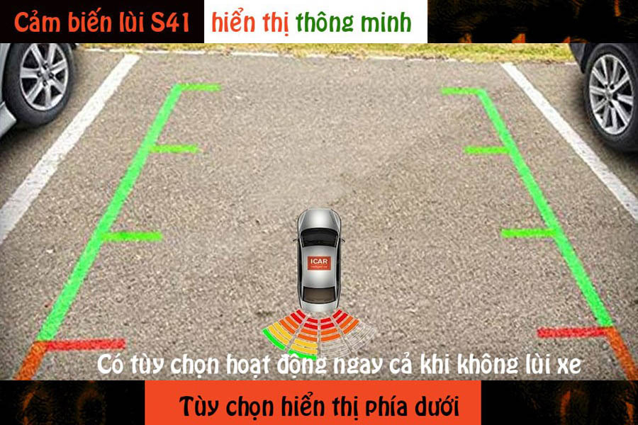 Cảm biến lùi 4 mắt hỗ trợ đỗ xe ICar Parking S41