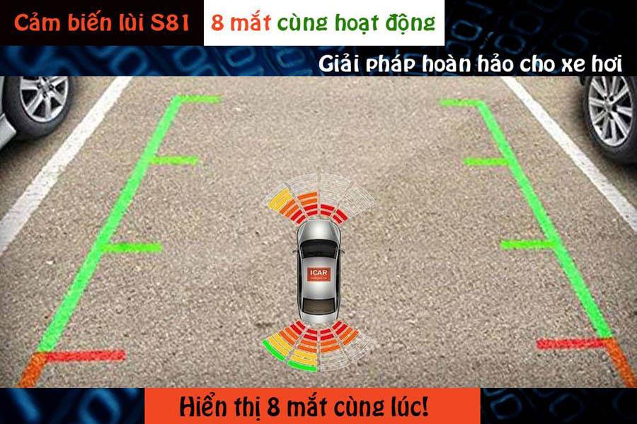 Cảm biến tiến lùi 8 mắt hỗ trợ đỗ xe ICar Parking S81 - Hình 1