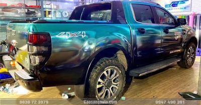 Dán decal tem xe Ford Ranger xanh đen chrome đẹp chất lượng