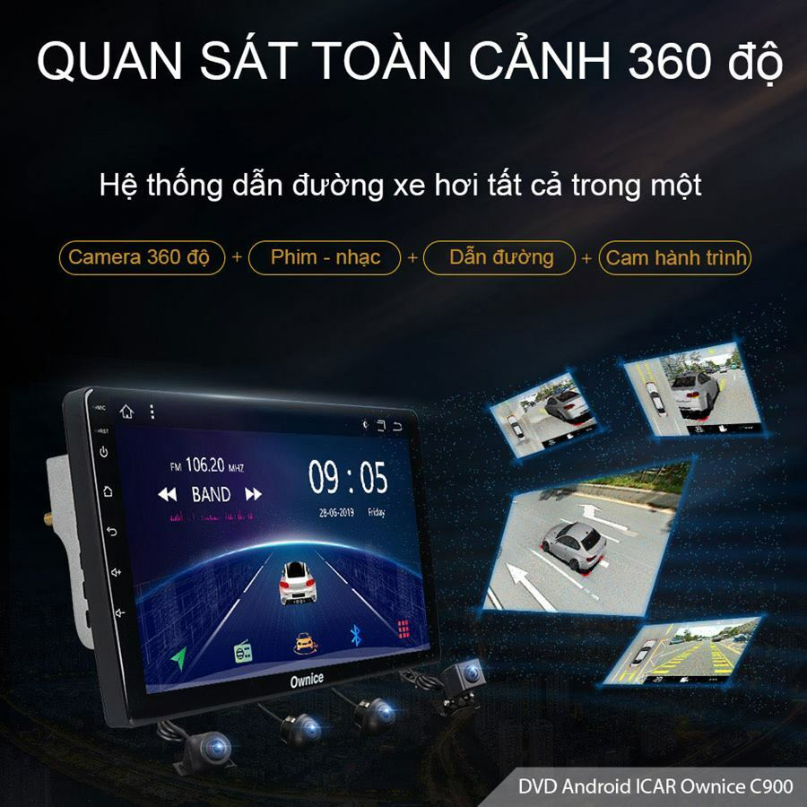 Đầu DVD Android xe hơi Ownice C900J (tích hợp Camera 360 độ)