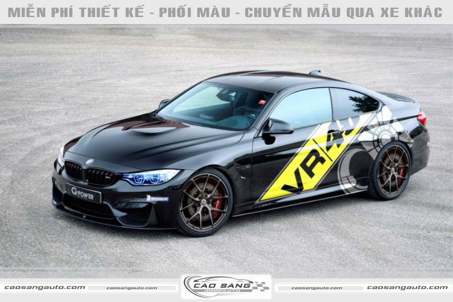 Tem xe BMW vàng đen
