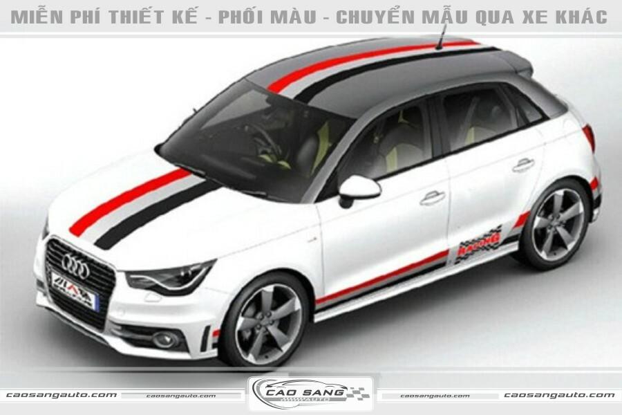 Tem xe Audi trắng đẹp