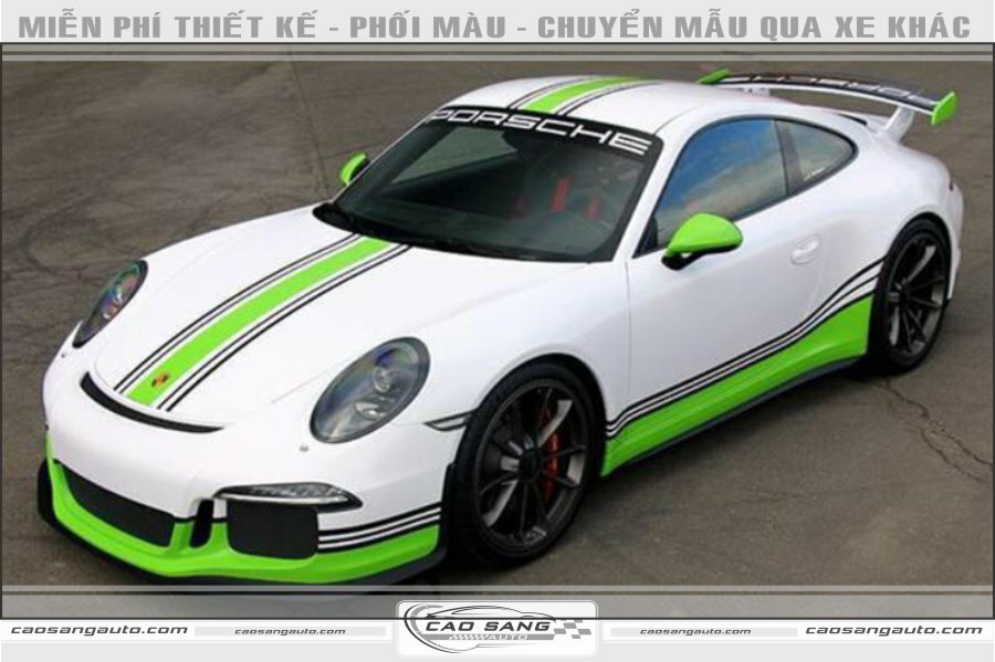 Tem xe Porsche trắng xanh