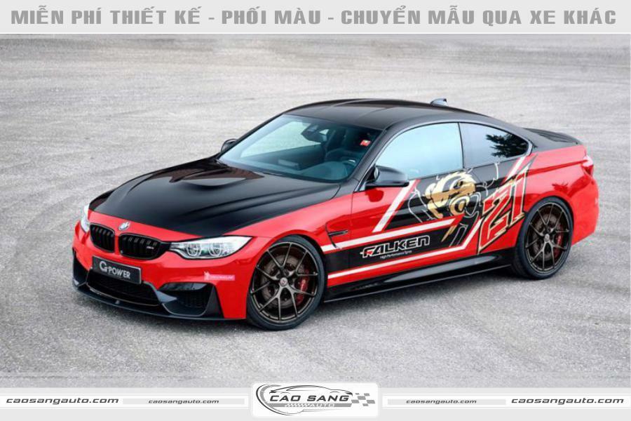 Tem đỏ đen xe BMW