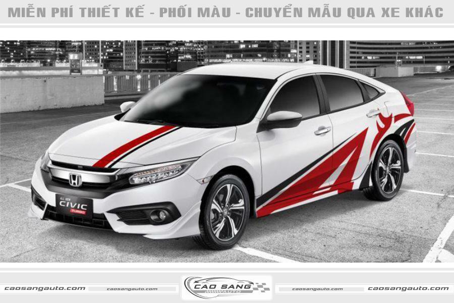 Tem đỏ trắng Honda Civic