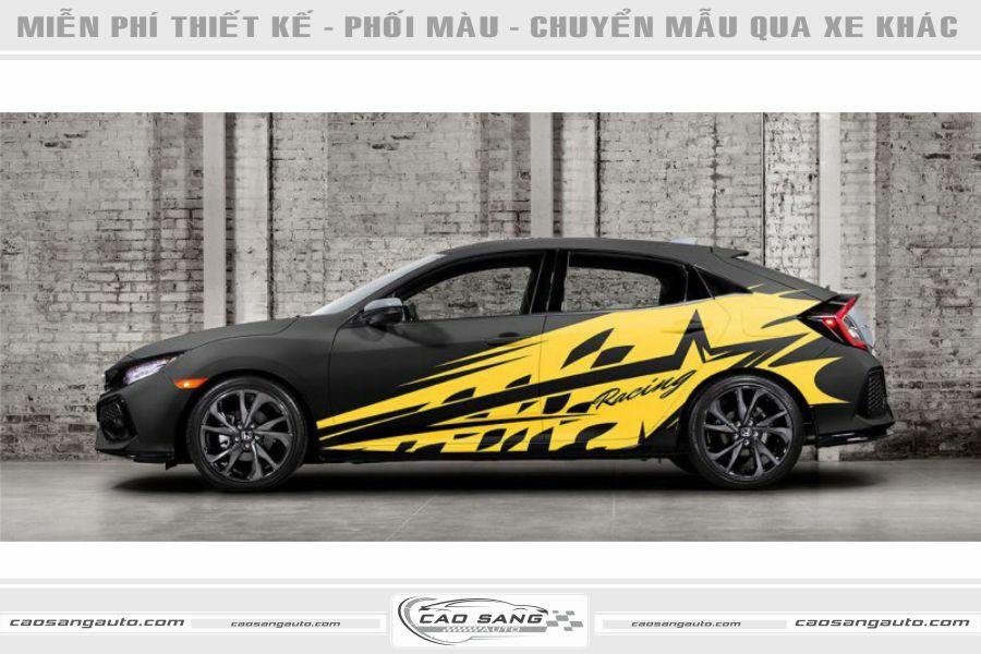 Tem Honda Civic vàng đen