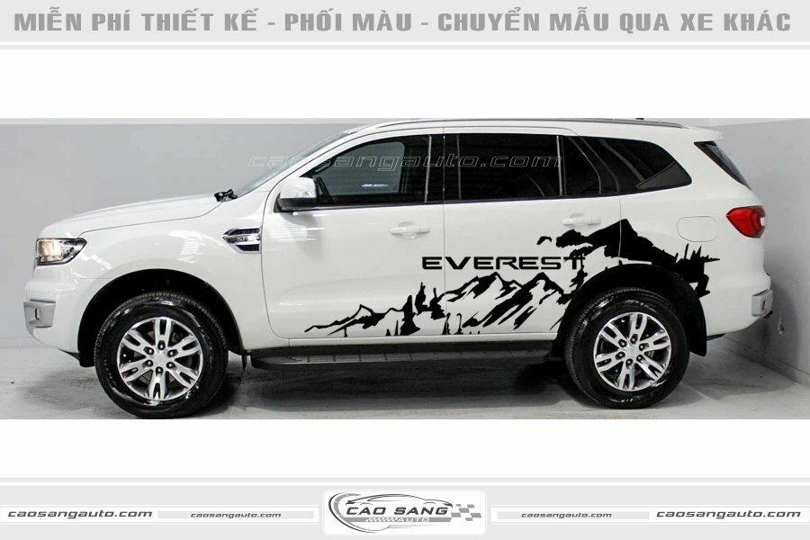Tem xe Everest trắng đen đẹp