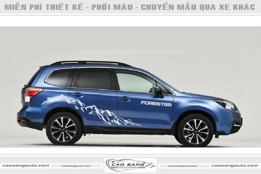 Tem xe Subaru xanh trắng đẹp