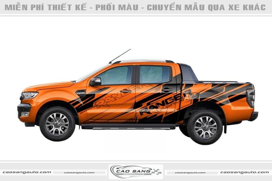 Tem xe bán tải Ranger cam đen