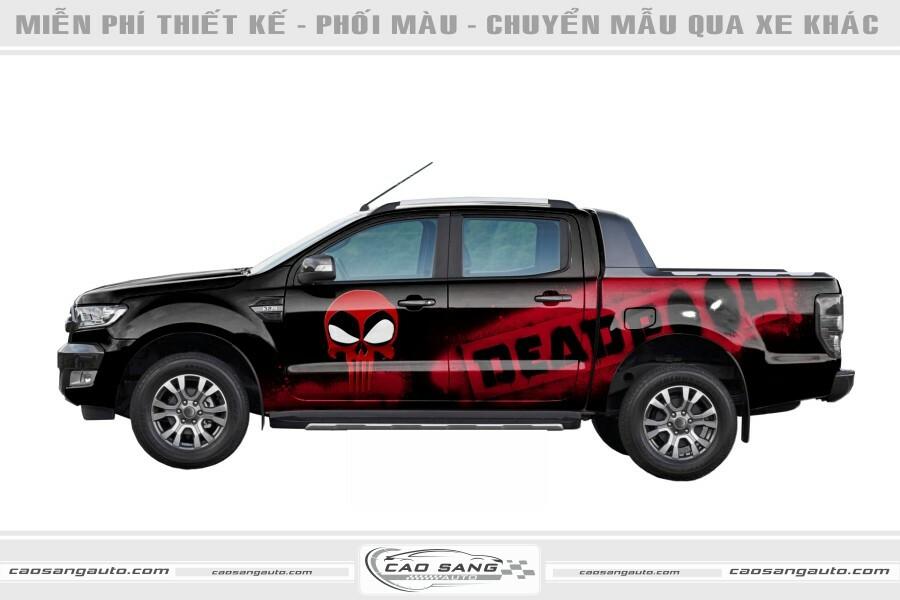 Tem xe bán tải đỏ đen đẹp