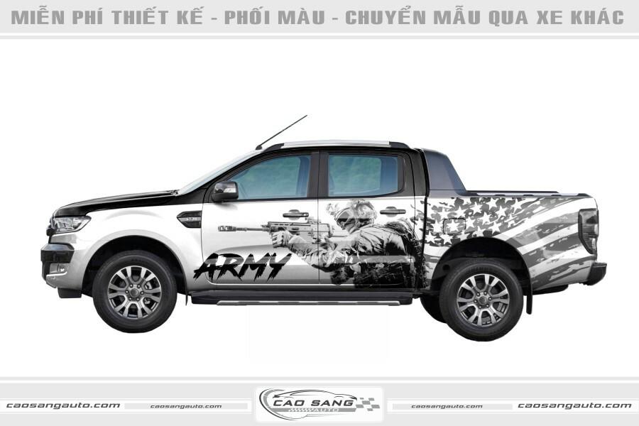 Tem xe bán tải Army đẹp