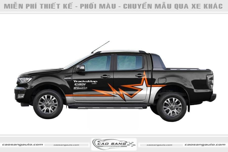 Tem xe Ford Ranger đen cam