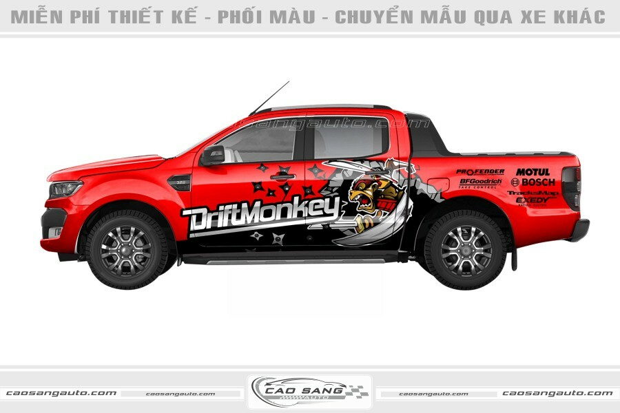 Tem chế xe Ranger đỏ đen