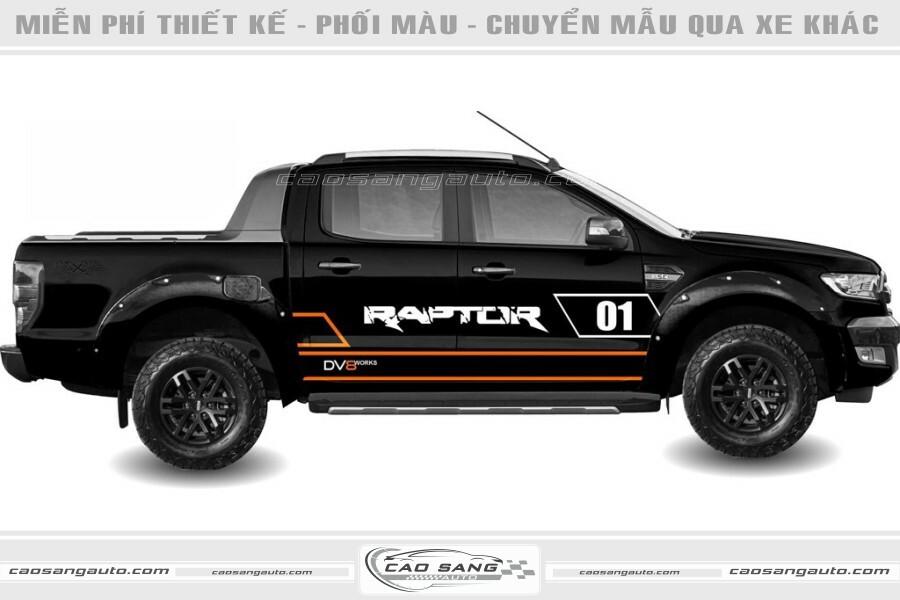 Tem xe Raptor cam đen