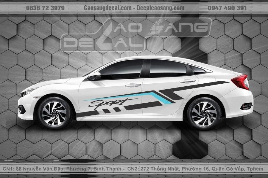 Tem xe Honda Civic Sport trắng xanh đen