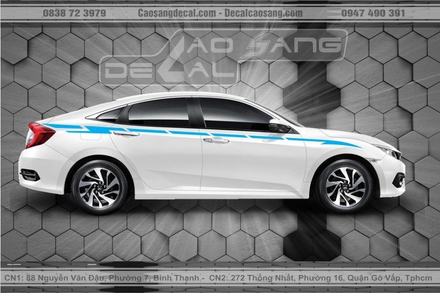 Tem xe Honda Civic trắng xanh