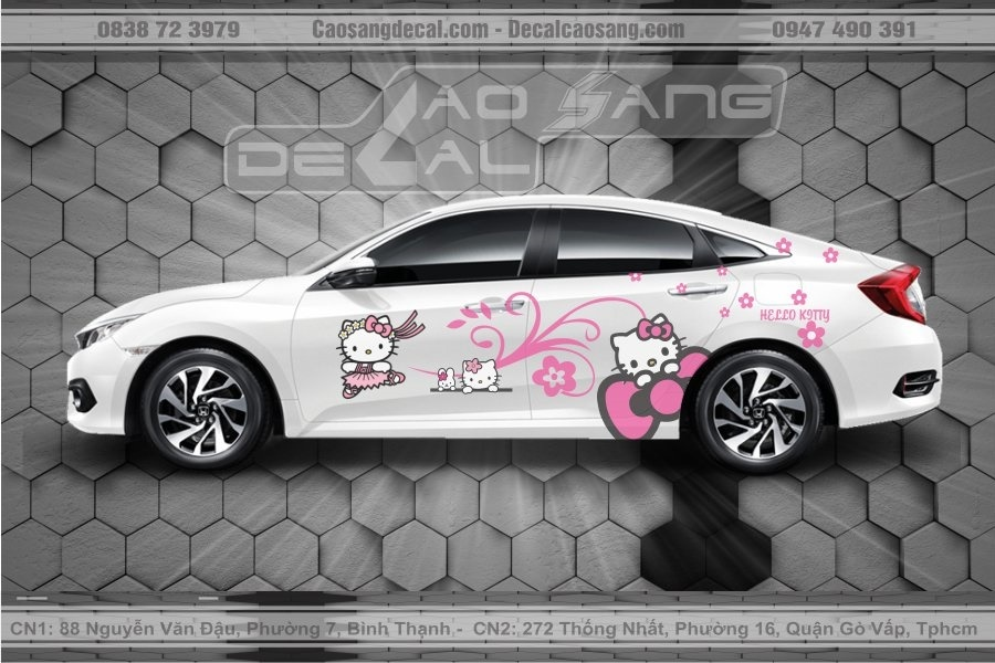 Tem xe Honda Civic Hello Kitty đẹp