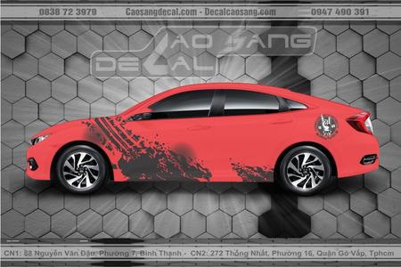 Tem xe Honda Civic đỏ đen đơn giản