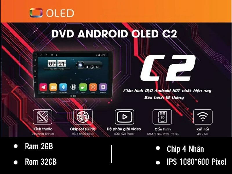 Độ màn hình DVD Android Oled C2 cho xe Mitsubishi
